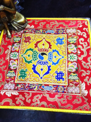 Altar Cloth With Double Dorje Symbol (Yellow, larger)