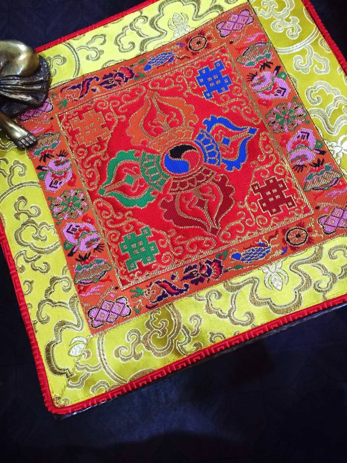 Altar Cloth With Double Dorje Symbol (Red, larger)