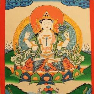Chenrezig (Avalokiteshvara) bodhisattva thangka painting 30x40 cm