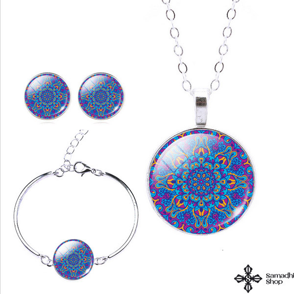Mandala Design 3 Pieces Set (Glass Necklace + Earrings + Bracelet)
