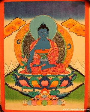Medicine Buddha thangka painting 30x40 cm